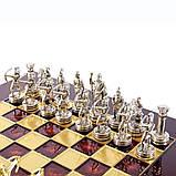 Шахи Manopoulos «Лучники», латунь, дерев'яний футляр, колір дошки червоний, розмір 28х28см, фото 3