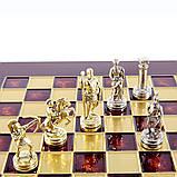 Шахи Manopoulos «Лучники», латунь, дерев'яний футляр, колір дошки червоний, розмір 28х28см, фото 4