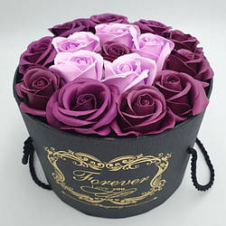 Подарочный набор Розы из мыла (Сиреневый)