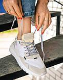 Женские кроссовки Adidas Nite Jogger (white/beige) Реплика ААА, фото 2