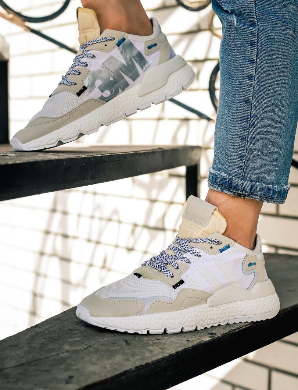 Женские кроссовки Adidas Nite Jogger (white/beige) Реплика ААА