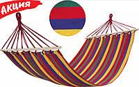 Подвесной тканевый гамак с перекладиной 200x80 см, Удобный хлопковый садовый лежак для дачи, дома и туризма