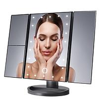 Косметическое зеркало для макияжа с LED подсветкой Superstar Mirror, Складное настольное зеркало с увеличением, фото 2