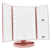Косметическое зеркало для макияжа с LED подсветкой Superstar Mirror, Складное настольное зеркало с увеличением, фото 3