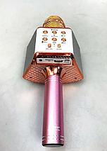Беспроводной караоке микрофон Wster ws 858 Портативный USB радиомикрофон с изменением голоса светомузыкой, фото 2