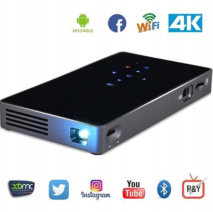 Портативний міні Led проектор P8 UTM з Wi-Fi і Bluetooth Мобільний DLP відеопроектор android з акумулятором, фото 2