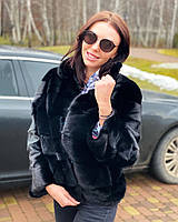 Нова норкова шуба розмір XL з фінської норки чорного кольору цілісні пластини