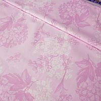 Тканина тік для напірників з біло-рожевими гортензіями на рожевому, ширина 150 см