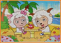 Картонный пазл овечки| Детские мозаики от 3 лет