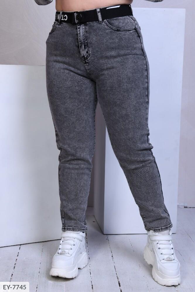 Джинсы женские зауженные серые из стрейч коттона больших размеров 48,50,52,54 арт 1041/815