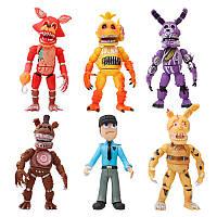 Набор фигурок 5 Ночей с Фредди с масками ФНаФ 17 см кошмарные аниматроники разборные, свет + мешок в подарок!