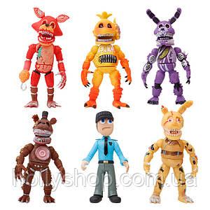 Набір фігурок 5 Ночей з Фредді з масками ФНаФ 17 см кошмарні аніматроніки розбірні, світло + мішок у подарунок!