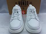 Комфортные кожаные белые туфли под кроссовки на платформе Rondo, фото 3