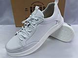Комфортные кожаные белые туфли под кроссовки на платформе Rondo, фото 5