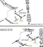 17-05 Сайлентблок заднего поперечного рычага 36х14х32 Mazda 626 GC, GD; G03028600; G21128600, фото 3