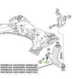 13-24 Сайлентблок переднього важеля передній Nissan Tiida, Note, Micra, Micra, Bluebird; 545001JY0A;, фото 3