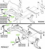 24-26 Сайлентблок соединительных тяг подрамника Renault Megane 2; Nissan Tiida, Note, Micra; 54524AX001; 82001, фото 3