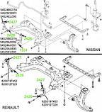 24-27 Сайлентблок соединительных тяг подрамника Renault Megane 2; Nissan Tiida, Note, Micra; 54524BC01A; 82001, фото 3
