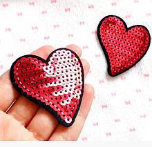 Аппликация термоклеевая, нашивка на одежду - Сердце, 5,5х5 см