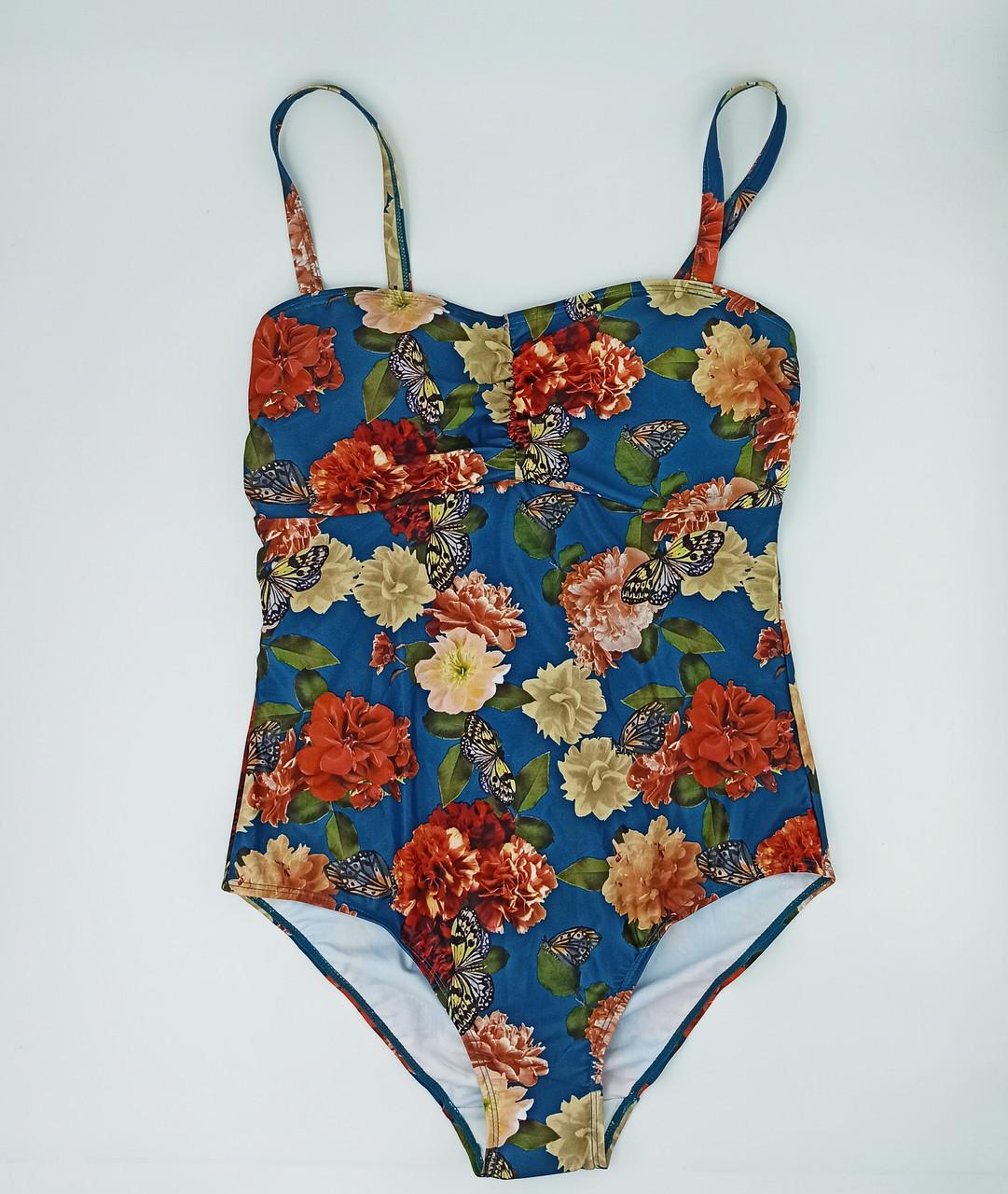 Жіночий купальник відрядний монокіні Esmara (EUR 42р) бірюзовий в квіти (312243)