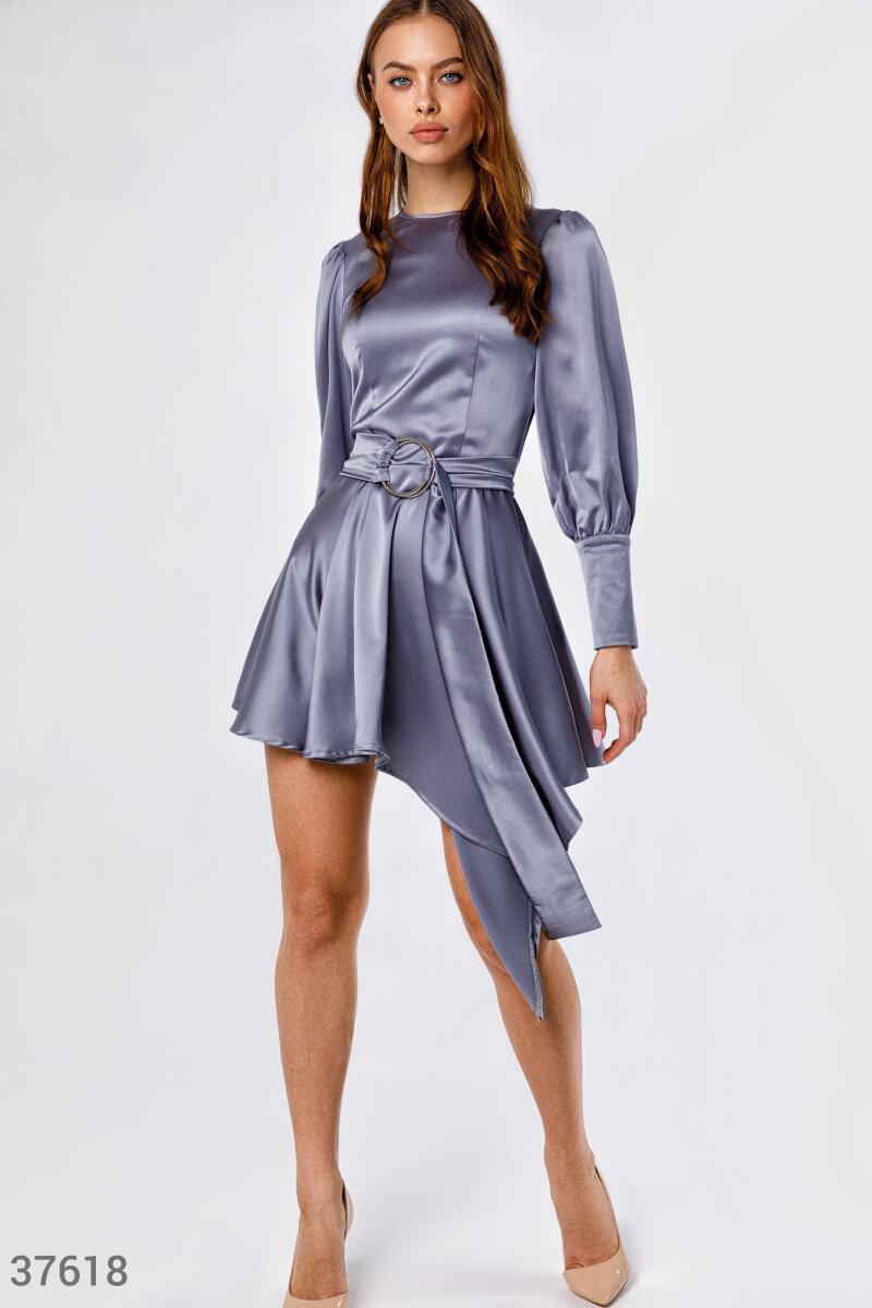 Асиметрична сукня жіноча з атласного матеріалу