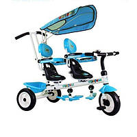 Дитячий двомісний велосипед з батьківською ручкою для двійнят велосипед для двох дітей