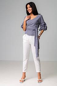 Хлопковая рубашка в клетку на запах с рукавами-фонариками в голубом и черном цвете в универсальном размере