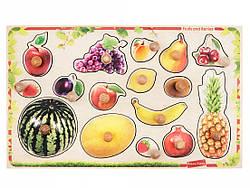 Детская развивающая деревянная игрушка рамка вкладыш Монтессори с ручками и подслойным рисунком Фрукты ягоды,