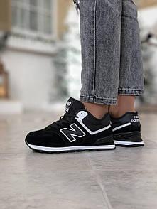 Кросівки зимові жіночі New Balance 574, чорні