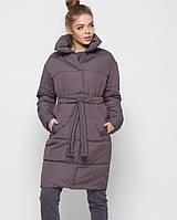 Демисезонная женская стеганая куртка-пальто с поясом X-Woyz 8890 размеры 42- 48