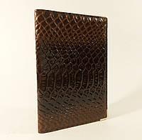 Обложка для паспорта кожаная женская коричневый питон Desisan Турция