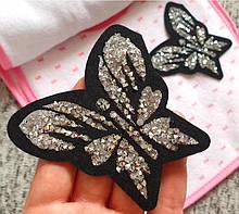 Аппликация термоклеевая, нашивка на одежду - Бабочка в кристаллах, 7,5х7 см