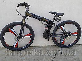 """Складний Велосипед на литих дисках 26"""" Mercedes Benz рама 17"""" Чорний з червоним"""