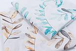 """Поплін шириною 240 см """"Велике листя акації"""" коричневе на білому (№3310), фото 5"""