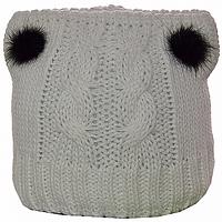 Вязаная шапка Ушки с мехом белая