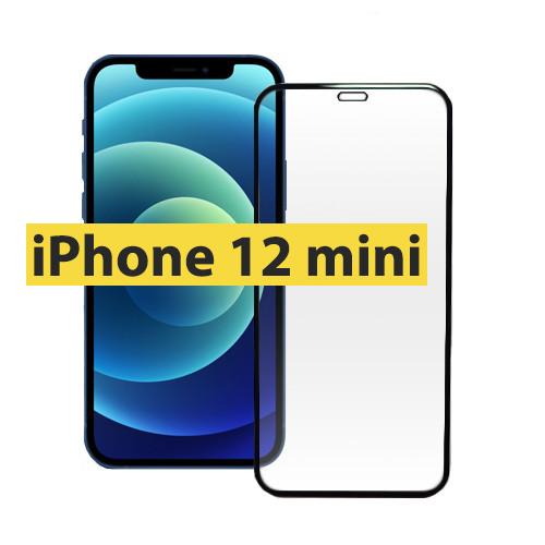 Защитное стекло iPhone 12 mini 5.4 (5D Strong) черное, айфон 12 мини