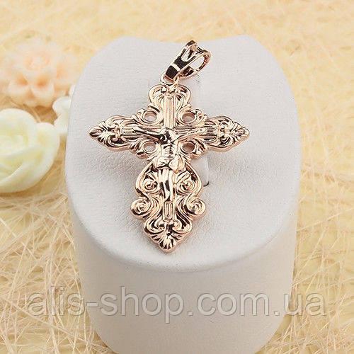 Позолоченный фигурный крест с распятьем