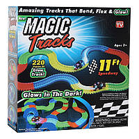 Гоночная трасса MAGIC TRACKS Светящийся трек Мэджик Трек 220 деталей с одной гоночной машинкой