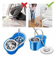 Швабра лентяйка круглая для уборки с отжимом и ведром МЕТАЛЛИЧЕСКАЯ центрифуга Easy Mop