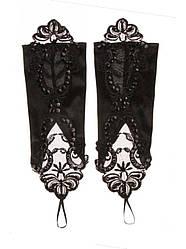 Чорні весільні рукавички