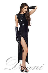 Довге чорне латексне плаття з розрізом