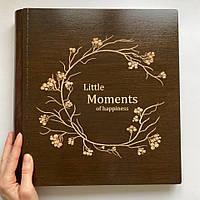 Фотоальбом из дерева   Подарок ручной работы   FILWOOD   Little Moments   Альбом семейный   Натуральная кожа
