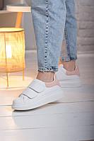 Женские легкие кроссовки на липучках Fashion Sherry в белом цвете