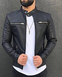 😜 Кожанка мужская черного цвета на осень / куртка кожанка чоловіча