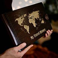 """Фотоальбом из дерева   Подарок ручной работы   Карта мира """"My travel history""""   Тревелбук   FILWOOD"""