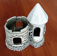Декорация для аквариума керамическая Башня двойная обрезная 14х18 см