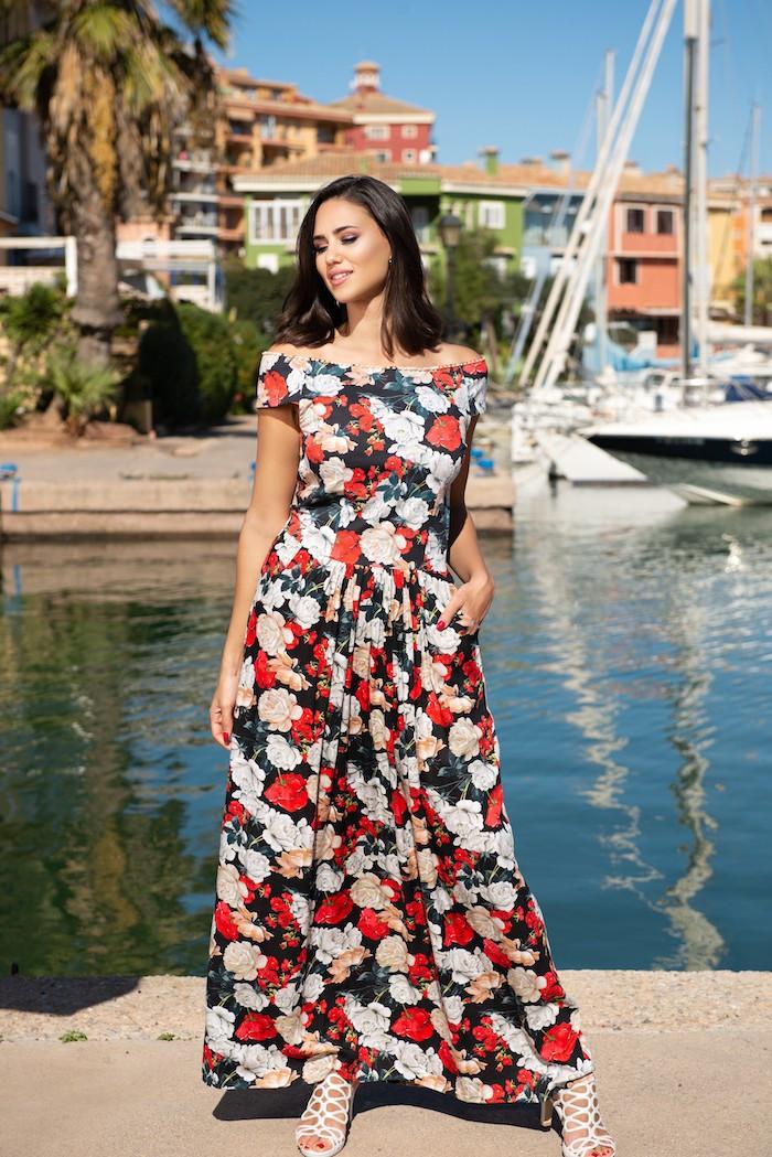 Длинное платье для женщин AnastaSea 21A-249/2 V 50(XXL) Принт