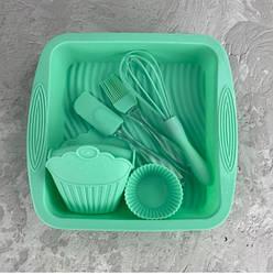 Набор силиконовый для выпечки печенья и кексов 11 в 1 A-PLUS 1951, Бирюзовый