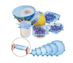 Универсальные силиконовые крышки Super stretsh silicon lids, 6 шт Голубые