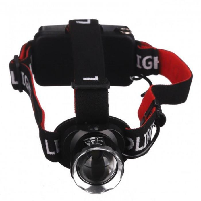 Налобний світлодіодний акумуляторний ліхтар T20, Чорний